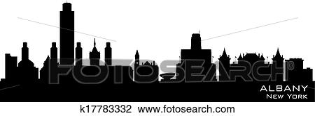 Albany New York City Skyline Vector Silhouette Clipart K17783332