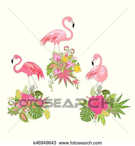 Clipart of beautiful floral design with exotic flowers and pink beautiful floral design with exotic flowers and pink flamingo mightylinksfo