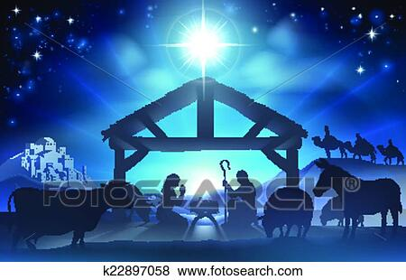 Traditional Christian Christmas Nativity Scene Of Baby Jesus In The Manger With Mary And Joseph Silhouette Surrounded By Animals Wise Men