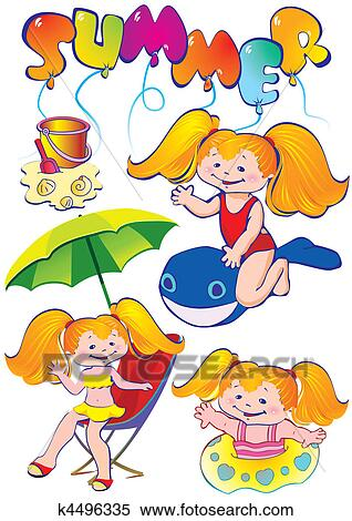 clipart of girls on the beach k4496335 search clip art rh fotosearch com clipart of girl crying clipart of girl dancing