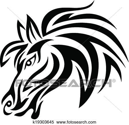 a512dea1166 Horse face Clipart | k19303645 | Fotosearch