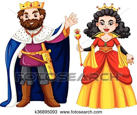 clipart of king and queen with happy face k36895093
