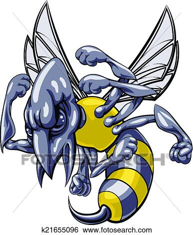 Mean Wasp Or Hornet Mascot Clip Art K21655096 Fotosearch