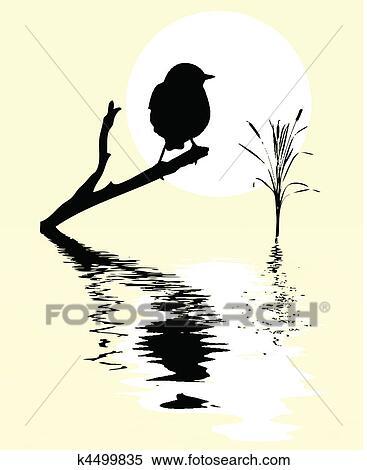 Clipart Petit Oiseau Sur Branche Arbre Entre Eau K4499835