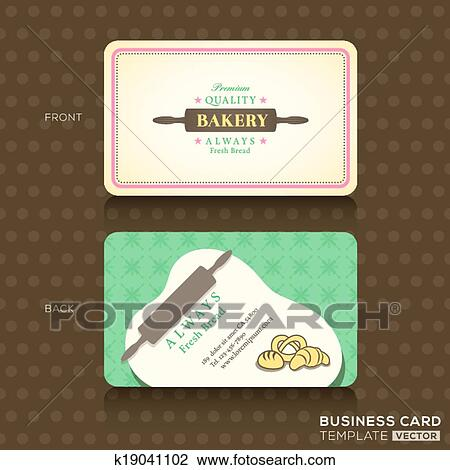 Clipart of retro vintage business card for bakery house k19041102 bakery shop with rolling pin business card design template maxwellsz