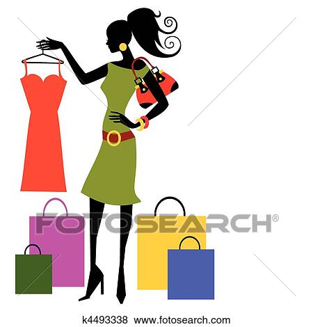 clip art of shopping woman k4493338 search clipart illustration rh fotosearch com woman shopping clipart woman with shopping bags clipart