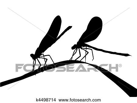 clipart of silhouette two dragonflies on herb k4498714 search clip
