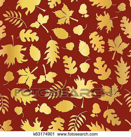 Thanksgiving Gold Foil Autumn Leaf Pattern Tile Clipart K63174901  Fotosearch