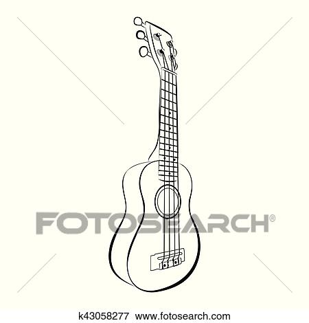 Ukulele Guitar Cartoon Vector And Illustration Black And White Hand Drawn Sketch Style Isolated On White Background Clip Art K43058277 Fotosearch