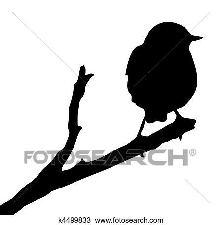 Clipart Vecteur Silhouette De Les Oiseau Sur Branche