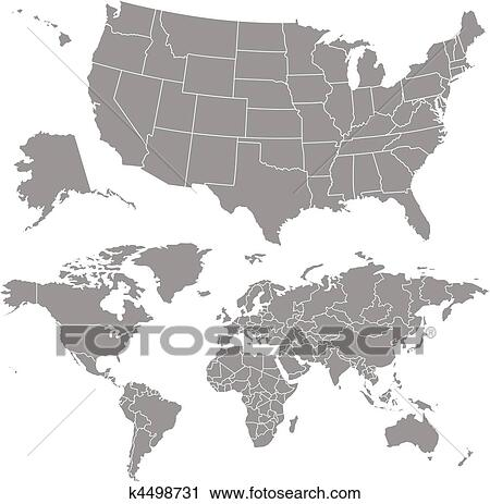 Clipart Of Vector Usa Map And World Map K4498731 Search Clip Art