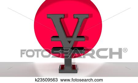 Drawing Of Yen Symbol In Front Of Japanese Flag K23509563 Search