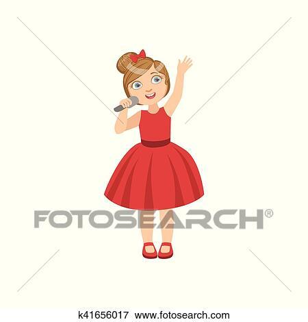 女の子, 中に, 赤いドレス, ∥で∥, ∥, マイクロフォン クリップアート