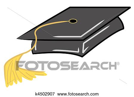 Stock Illustration Of Black Graduation Cap With Gold Tassel K4502907