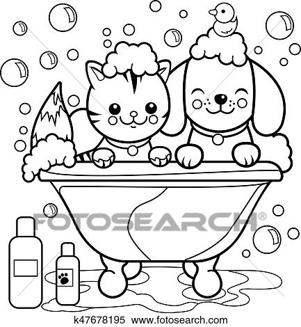 Dog and cat in a tub taking a bath. Vector black and white ...