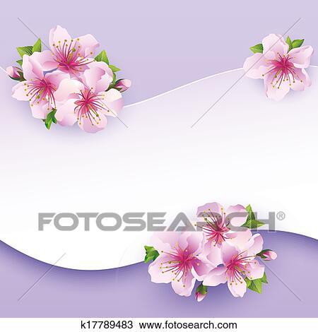 Clipart Floral Fond Carte Voeux A Fleur Sakura K17789483