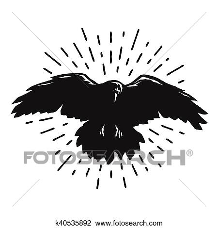 Flying Crow Silhouette Clip Art