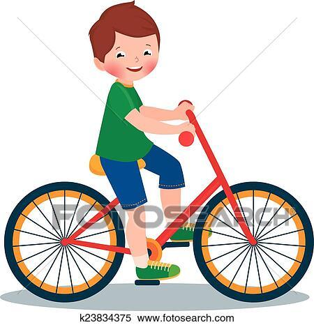 Clipart gar on bicyclette k23834375 recherchez des - Dessin bicyclette ...