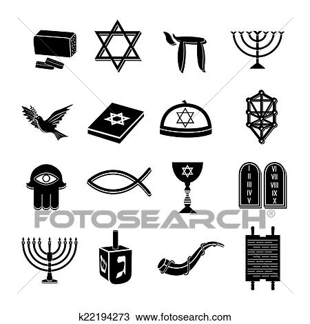 Clipart Of Judaism Icons Set Black K22194273 Search Clip Art