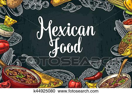 clipart of mexican traditional food restaurant menu template with