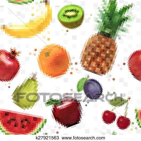Modèle Pixel Fruits Clipart