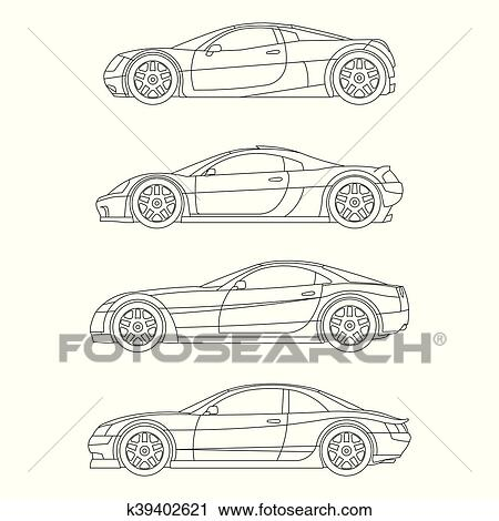 Clipart Of Sport Muscle Car Outline Drawing Red Flat Icon Vector