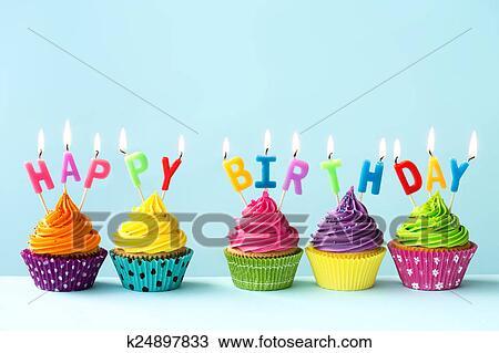 Stock Foto Alles Gute Geburtstag Cupcakes K24897833 Suche Stock