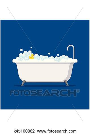 clipart baignoire mousse bulles int rieur et bain canard caoutchouc jaune isol sur. Black Bedroom Furniture Sets. Home Design Ideas