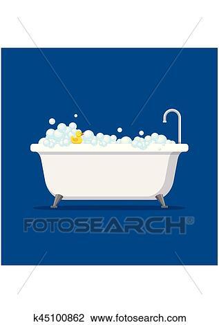 clipart baignoire mousse bulles int rieur et bain canard caoutchouc jaune isol sur. Black Bedroom Furniture Sets. Home Design Ideas