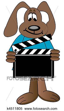 stock illustration of dog holding up directors clapboard k4511805