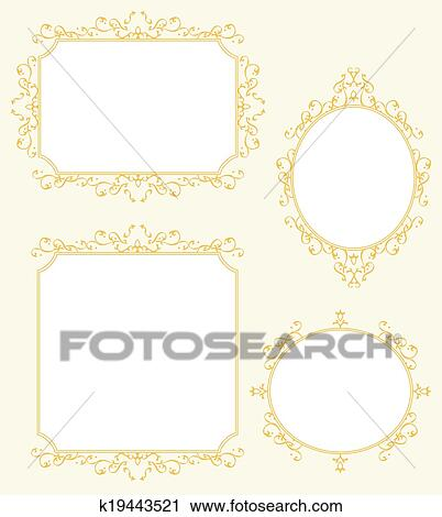 Clipart of Elegant Frame Border Decorations Set k19443521 - Search ...