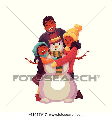 African Family Portrait Of Father Mother And Daughter Making Snowman Cartoon Vector Illustration Isolated On White Background Cheerful Happy Black