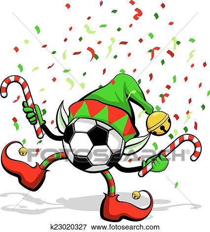 Fussball Ball Oder Football Weihnachtself Clip Art