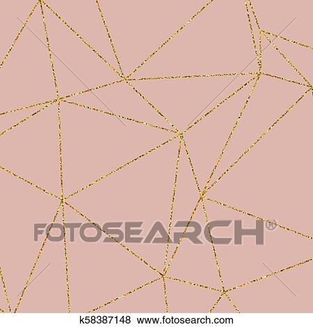 Gold Glitter Geometric Pattern On Rose Gold Background 1406 Clip Art K58387148 Fotosearch