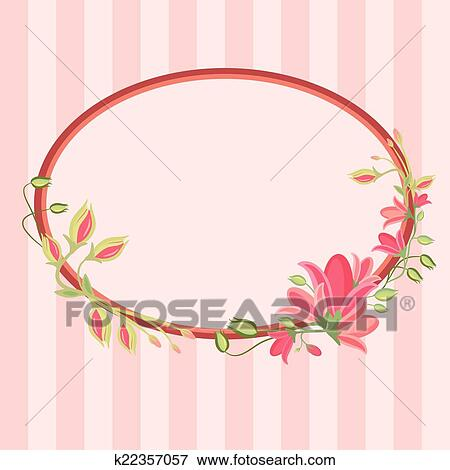 Clip Art Of Greeting Card With Floral Wreath K22357057 Search