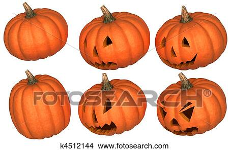 Halloween Scary And Funny Pumpkins Picture K4512144 Fotosearch