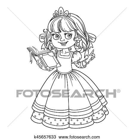 Hermoso, princesa, leer, libro, contorneado, imagen, para, libro colorear, blanco, plano de fondo Clipart