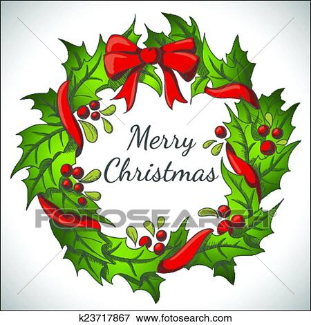 Christmas Wreath Vector.Holiday Background With Christmas Wreath Clip Art