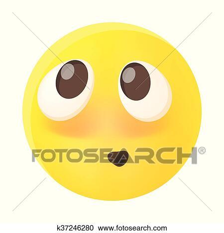 Imbarazzato Emoticon Con Allineato Testo Guance Rosse Icona Clipart
