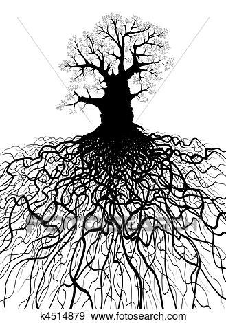 Clipart arbre racines k4514879 recherchez des cliparts des illustrations des dessins - Arbre sans racine envahissante ...