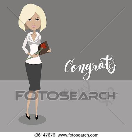 Clip Art Karikatur Sekretärin Blond Weiblich Character