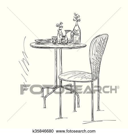 Mobel In Summer Cafe Stuhl Und Tisch Skizze Clipart