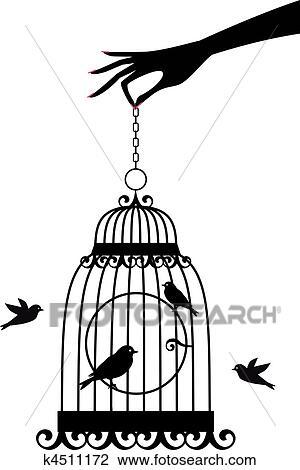 Clipart main cage d 39 oiseaux vecteur k4511172 recherchez des clip arts des - Dessin oiseau en cage ...