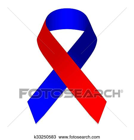 Clipart Of Red Blue Ribbon Symbol Of The Memory Of The 2010
