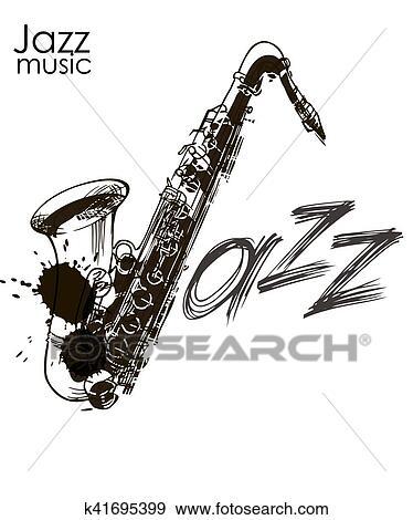Dessin Saxophone clipart - saxophone, jazz, légende k41695399 - recherchez des