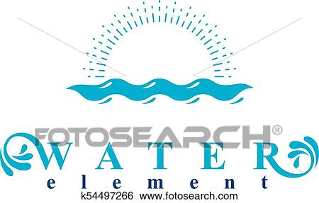Sea wave splash vector symbol isolated on white  Water treatment company  abstract logo  Clip Art