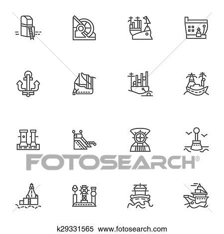 Simple Ligne Vecteur Icones Pour Bateaux Et Mer Ports Clipart K29331565 Fotosearch