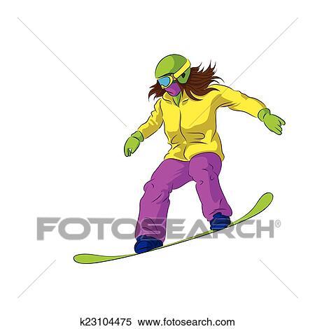Snowboarder Sliding Down Female Snowboarding Clipart K23104475 Fotosearch