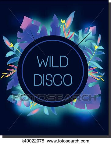 Tropic Disco Party Flyer Design Template Tropical Leaves