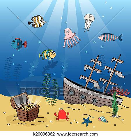 clipart of underwater scene of a sunken ship and treasure k20096862